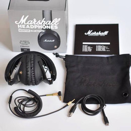Wholesale Earphone Hi Fi - Marshall Monitor Bluetooth Foldable Headphones with MIC Leather Noise Cancelling Deep Bass Stereo Earphones DJ Hi-Fi Headphone Phone Headset
