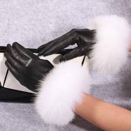 nouveaux gants de peau Promotion A98 nouvelle mode des gants en cuir véritable hiver garder au chaud renard fourrure peau de mouton gants en cuir femmes mitaines