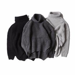 Wholesale korea mans style - Korea hiphop Autumn winter kanye west high collar knit sweater both sides Split fork sweater men women sweater 3 color M-XL