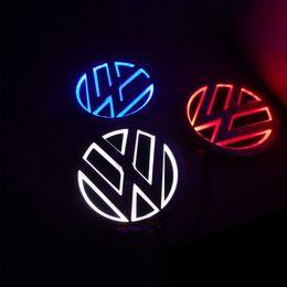 Wholesale Golf Logo Badges - 11cm*11cm Car Emblem light for VW Golf 6 tiguan bora CC scirocco Magotan Badge Sticker LED light 5D logo Emblems light