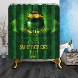 Wholesale Green Curtain Fabric - St. Patrick's Day Shower Curtains Ireland National Day Green Theme Bath Curtain Waterproof Fabric Bath Shower Curtain Mildewproof Curtain