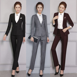Wholesale Ladies Business Trousers - New Professional Formal Pantsuits With Jackets And Pants for Business Women Pants Suits Ladies Office Trousers Set Work Outfits