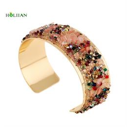 Wholesale Wrap Bracelet Natural Stones - whole sale2017 women natural stones Gold-color circles bracelet indian wrap arm bangle cuff big colorful crystal fashion jewelry new hot