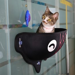 Wholesale cat beds accessories - Top View Cat Hammock Window Bed Lounger Sofa Cushion Hanging Shelf Seat With Suction Cup For Pets Cartoon Design 63dg Z