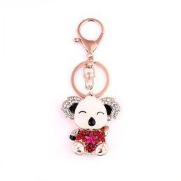 gros porte-clés de ours en peluche Promotion 2017 mode cristal huile de mosaïque goutte à goutte porte-clés porte-clés femmes bijoux mignonne ours en peluche pour belle voiture chaîne de clés en gros livraison gratuite