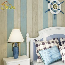 Wholesale Wood Contact Paper - Wholesale- Mediterranean Wood Stripe Non-woven Bedroom Wallpaper 3D Fabric Contact Wall Covering Roll Soundproof Modern Kids Wall Paper