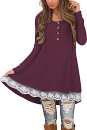 Argentina Las mujeres de la señora sueltan el vestido de otoño de manga larga botón de cuello redondo camiseta de encaje Tops ropa 3958 cheap girl long neck t shirt Suministro