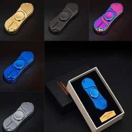 Wholesale cigarette lighters led lights - Finger Spinner Smoking Lighter With LED Light EDC Fidget Toy Decompression Hand Spinners Metal Spinning Top USB Rechargeable HH7-858