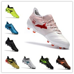 Wholesale Green Messi Soccer Shoes - Ace 17 + Purecontrol FG Mens Football Soccer Shoes X 17.1 Leather FG Cheap Soccer Cleats Authentic Messi Football Boots Original Shoes