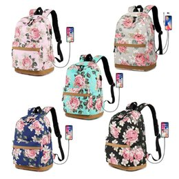 pink bags for flower girl Promo Codes - Canvas Flower Backpack Laptop Travel Daykpack School Bag Bookbags for Teen Girls