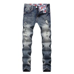 helle jeans für männer Rabatt 2018 Herren Straight Hole Jeans Nostalgische Light Colour Jeans