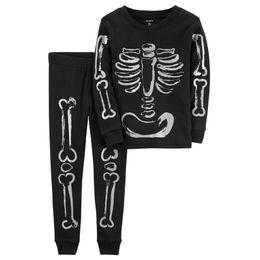 Wholesale pajamas skeleton - 2017 New Arrival Skeleton Pajamas Set Cute Black Anime Skulling T-shirt Tops+Pants Cosplay Baby Boys Girls Clothing