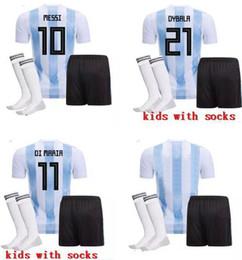 Wholesale cheap foot - Maillot de Foot 2018 World Cup High Quality Lionel Messi DYBALA Argentina Kids Cheap soccer jerseys Maradona Argentine football uniforms