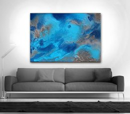 Wholesale texture canvas art - Hand made texture Ocean Painting Blue Abstract Art Turquoise on Huge Wall Decor for living room