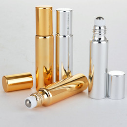 Wholesale Gold Essential Oil Bottle - 10ml UV Roll On Bottle Gold and Silver Essential Oil Steel Metal Roller ball fragrance Perfume