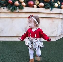 Wholesale Toddler Animal Onesies - XMAS deer baby girl romper kid jumpsuit clothing long sleeve bodysuit cute girls red toddler flower rompers suits girl onesies B11