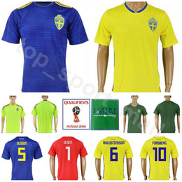 9f3e0e9df Men Sweden Jersey 2018 World Cup 8 EKDAL 10 FORSBERG 1 OLSEN Football Shirt  Kits Goalkeeper 5 OLSSON 6 AUGUSTINSSON National Team Yellow