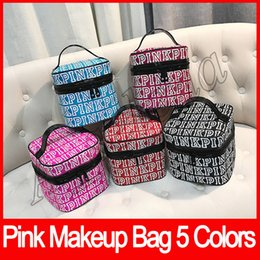 Wholesale Double Makeup Bag - Handbags PINK Makeup Bag Love Pink Cosmetic Bag Double Zipper Handbag Portable Storage Bags Secret Nylon 5 Colors