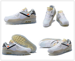 Wholesale M Cushion - 2017 High quality Off x Airs Cushion 90 Ice Blue 10X Sports Running Shoes for USA 1990 Beaverton Oregon USA White Casual Sneakers Size 40-46