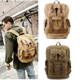 Wholesale Vintage Leather Satchels For Men - Canvas Backpack Vintage Canvas Leather Backpack Hiking Daypacks Satchel Bookbag Mountaineering Bag for Men Women Free Shipping G166S