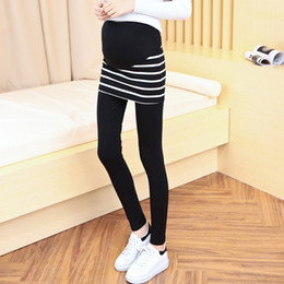 Wholesale women skirt pant leggings - Pengpious 2017 Korean style pregnant women fashion striped skirts patchwork black skinny leggings maternity two pieces set pants