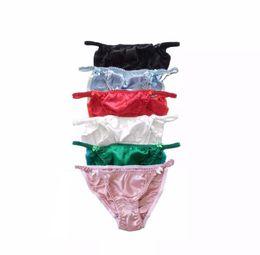 Culotte grande taille en Ligne-taille pure soie mi brillant Panties femmes solides 100% Taille Mulberry Silk Plus Briefs M / L Livraison gratuite
