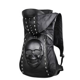 crâne croisé homme Promotion Nouveau 2018 Mode Personnalité 3D crâne en cuir sac à dos rivets crâne sac à dos avec Capuchon Cap vêtements sac cross sacs hiphop man