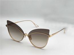 eec92c36e75727 Womens Night bird Eine Gold Cat Eye Sonnenbrille gold   braun schattiert  Sonnenbrille Luxury Designer Sunglasses Glasses Shades mit Box