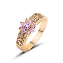 Wholesale Unique Wedding Ring Set Gold - Elegant Purple Black Gold Filled CZ Ring Gold Colors Flowers Rings Unique Vintage Party Wedding For Women Christmas Jewelry