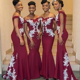 Canada Bourgogne robes de demoiselle d'honneur magnifiques Bourgogne dentelle blanche appliquée sur l'épaule demoiselle d'honneur robes 2018 robes de soirée nigérianes sexy cheap white lace nigerian dress Offre