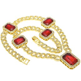 """Wholesale wholesale ruby pendant - Wholesales 30"""" Iced Out Cuban Links&Ruby Hip Hop Jewelry Designer Jewelry Sliver Choker Gold Diamond Chain Iced Out Chains Mens Necklace"""