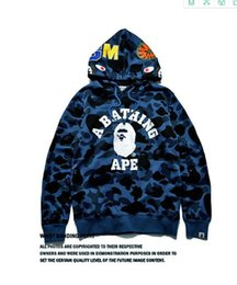 Wholesale Winter Camo Jacket - 2017 Cheap New winter Hoodie Men's A Bathing AAPE Ape Shark Hooded Hoodie Coat Camo Full Zip Jacket Camouflage Hoodies Hot