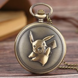 Wholesale Birthday Gift Watches For Women - Cute Pikachu Collection Pocket Watches Necklace for Children Kids Boys Girls Men Women Best Birthday Gift