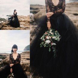 Wholesale white shirts puffy sleeves - 2018 Black Gothic Wedding Dresses Backless with Illusion Long Sleeve Puffy Tulle Cheap Boho Wedding Dress Formal Bridal Gowns