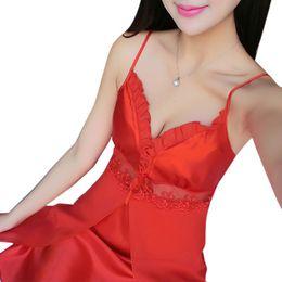 145349111c size l sexy babydoll lingerie UK - Women Satin Nightwear Plus Size Silk  Nightgowns Night Dress