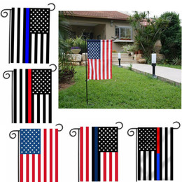 Wholesale Usa Gardening - 30*45cm BlueLine USA Police Flags party decoration Thin Blue Line USA Flag Black, White And Blue American Flag Garden flag B977