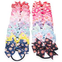 Pêlos do bebê elástico on-line-Meninas do bebê Bow Hairbands bonito Flor Impressão headband Boutique crianças Acessórios Para o Cabelo 20 cores Arco de Cabelo com Elástico Faixa de Borracha C4648