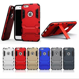 Wholesale Case For Iphon - Hight qulity Iron Man Armor phone Cases 2 in 1 Support Mobile Phone protection shell For iphon 7 8 Plus X with stand