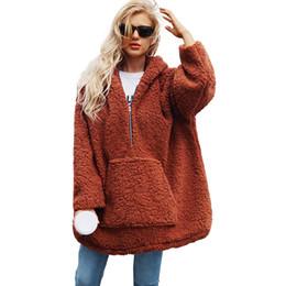 Mujeres más sudadera con capucha del marrón online-Moda mujer sudadera con capucha de lana de cachemira suelta gruesa caliente de gran tamaño con capucha de invierno más tamaño con capucha suéter prendas de vestir exteriores camello / marrón