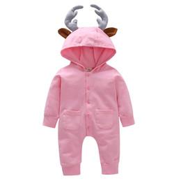 spitze netz gesicht Rabatt Baby Boy Girl mit Kapuze Geweih Strampler Neugeborenen Herbst Baumwolle Taste Overalls Langarm Hoodie 100% Baumwolle Strampler