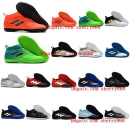 Wholesale White Men Ankle Shoes - Mens Turf high ankle Soccer shoes 2017 ACE 17.3 Primemesh TF IN indoor soccer cleats ACE football boots Original purecontrol 17 Hot sale