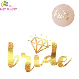 Wholesale Temporary Tattoo Supplies Wholesale - HEY FUNNY 1pcs Gold Flash Bride Tribe Temporary Tattoo Sticker Bachelor Party Bridesmaid Supplies Wedding Decor Photo Props
