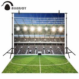 Telas feitas sob encomenda da foto da tela on-line-Allenjoy fotografia pano de fundo campo de futebol esportes glitter personalizado aniversário fundo tecido foto prop impresso