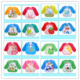 Wholesale child overalls - Baby Toddler Cartoon Overalls Waterproof Long Sleeve Bibs Children Kids Feeding Smock Apron Eating Clothes Burp Cloths KSF06