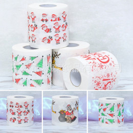 eco paper roll Promo Codes - Printed Christmas Pattern Napkin Papers Non Toxic Table Decoration Supplies Eco Friendly Wood Pulp Toilet Paper Popular 3ms BB