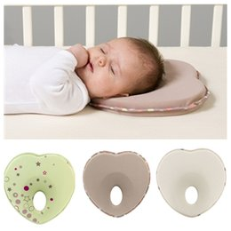 Wholesale baby head shaping pillow - Baby Neonatal Prevent Flat Head heart-shaped anti roll pillow memory foam pillow baby sleep positioner KAF03