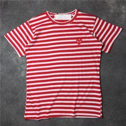 Rot tshirt männer online-2018 Sommer New Play CDG gestreiften Frauen Tee Baumwolle Kurzarm Atmungsaktiv Männer Frauen Rot Liebe Herz T-Shirt Lässige Streetwear T-Shirts