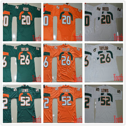 Ray lewis fußball trikot online-NCAA Miami Hurricanes 26 Sean Taylor Trikots Jugend Kinder Genäht College Football 20 Reed Jersey ACC Orange Grün Weiß 52 Ray Lewis Jerseys