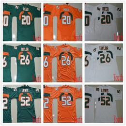reed kid Promotion NCAA Miami Hurricanes 26 Sean Taylor Jerseys Jeunes Enfants Cousu Football College 20 Maillot Reed ACC Orange Vert Blanc 52 Ray Lewis