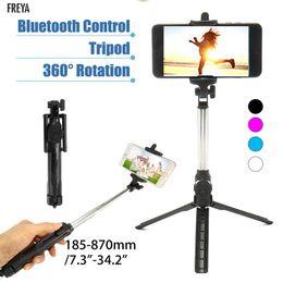 Iphone más trípode online-Mini trípode con control remoto inalámbrico para Selfie Stick inalámbrico extraíble para iPhone 5 6 7 8 Plus X Cell Smart Phone